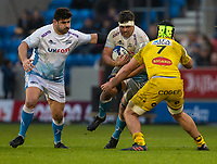24th November 2019; AJ Bell Stadium, Salford, Lancashire, England; European Champions Cup Rugby, Sale Sharks versus La Rochelle; Jono Ross of Sale Sharks is tackled by Gregory Alldritt of La Rochelle - Editorial Use