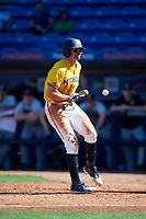 Michigan Wolverines center fielder Jonathan Engelmann (2) gets hit by a pitch during a game against Army West Point on February 17, 2018 at Tradition Field in St. Lucie, Florida.  Army defeated Michigan 4-3.  (Mike Janes/Four Seam Images)