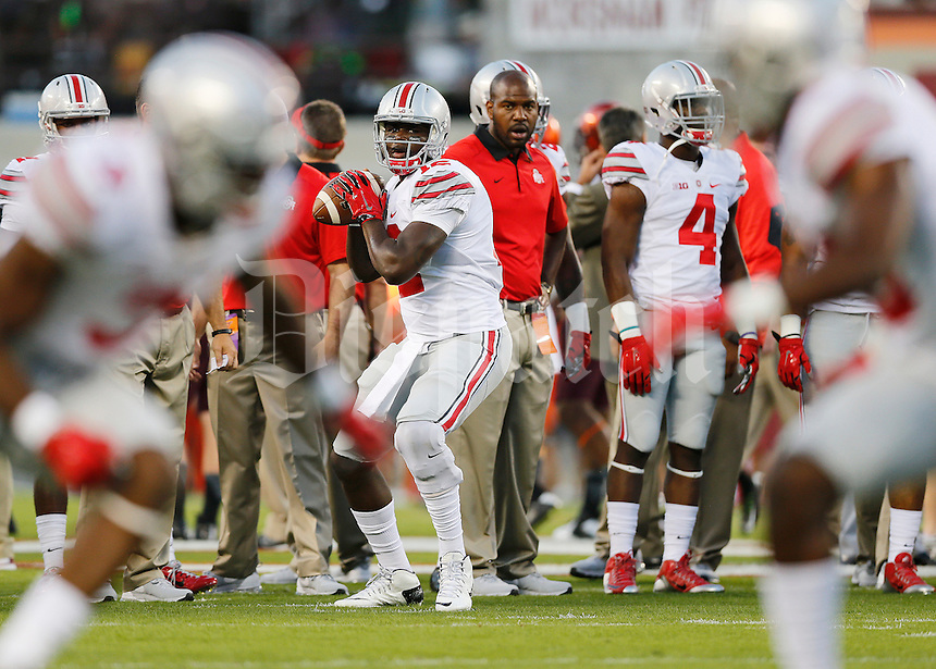 Ohio State Buckeyes quarterback Cardale Jones (12) warms up prior to the NCAA football game against the Virginia Tech Hokies at Lane Stadium in Blacksburg, Virginia on Sept. 7, 2015. (Adam Cairns / The Columbus Dispatch)