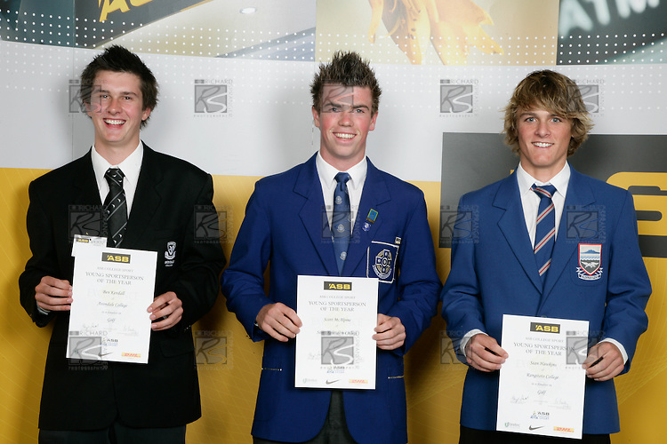 Boys Golf finalists Ben Kendall, Scott McAlpine & Sean Hawkins. ASB College Sport Young Sportperson of the Year Awards 2007 held at Eden Park on November 15th, 2007.