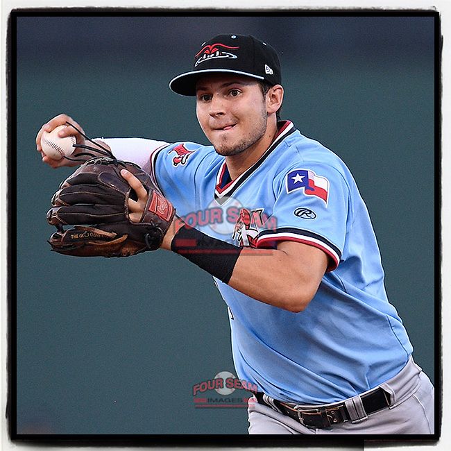 Second baseman Kole Enright (22) of the Hickory Crawdads throws out a runner to end the third inning of a game against the Greenville Drive on Monday, August 20, 2018, at Fluor Field at the West End in Greenville, South Carolina. Hickory won, 11-2. (Tom Priddy/Four Seam Images) #milb #minorleagues #minorleaguebaseball #baseball #sallyleague #rangers
