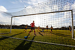 Southport goalkeeper Dan Hanford watches his team mates defend a cross. Darlington 1883 v Southport, National League North, 16th February 2019. The reborn Darlington 1883 share a ground with the town's Rugby Union club. <br />