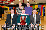 Front L-R Con Moynihan (Principle), Shane O'Shea (Student of the Year) and Jerome Griffin (Guest of honour), Back Shane's parents Mary and John O'Shea at the Annual Awards night in the Killorglin Community College last Thursday night.