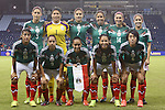 16 October 2014: Mexico's starters. Front row (left to right): Sandra Stephany Mayor (MEX), Veronica Charlyn Corral (MEX), Monica Ocampo (MEX), Veronica Perez (MEX), Liliana Mercado (MEX). Back row (left to right):: Paulina Solis (MEX), Cecilia Santiago (MEX), Lydia Nayeli Rangel (MEX), Bianca Sierra (MEX), Monica Alvarado (MEX), Arianna Romero (MEX). The Mexico Women's National Team played the Costa Rica Women's National Team at Sporting Park in Kansas City, Kansas in a 2014 CONCACAF Women's Championship Group B game, which serves as a qualifying tournament for the 2015 FIFA Women's World Cup in Canada. Costa Rica won the game 1-0.