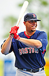 11 March 2010: Boston Red Sox catcher Luis Exposito awaits his turn in the batting cage prior to a Spring Training game against the New York Mets at Tradition Field in Port St. Lucie, Florida. The Red Sox defeated the Mets 8-2 in Grapefruit League action. Mandatory Credit: Ed Wolfstein Photo