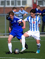 Action from the Wellington secondary schools 1st XI football match between St Pat's College Town and St Pat's College Silverstream at Evan's Bay Park in Wellington, New Zealand on Wednesday, 25 July 2018. Photo: Dave Lintott / lintottphoto.co.nz