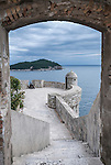 Dubrovnik's famous city walls that surrounds the Old Town, Croatia.