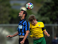 Action from the Central League football match between Miramar Rangers and Lower Hutt at David Farrington Park in Wellington, New Zealand on Monday, 17 April 2017. Photo: Dave Lintott / lintottphoto.co.nz