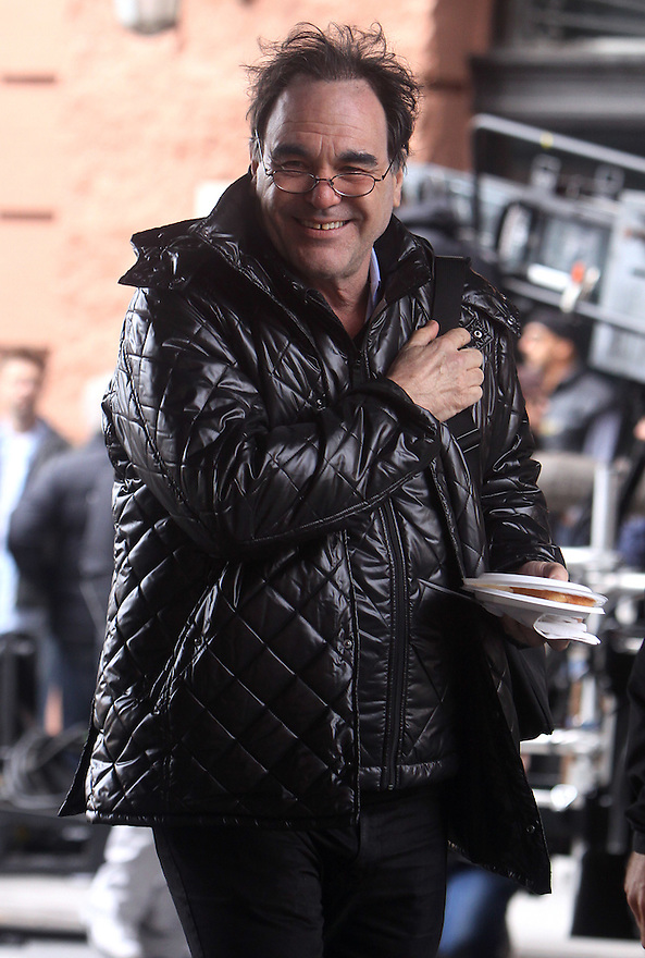 Oliver Stone on the set of Walk Street 2 in the packing district in New York, Wednesday, September 30, 2009. (AP Photo/Donald Traill)
