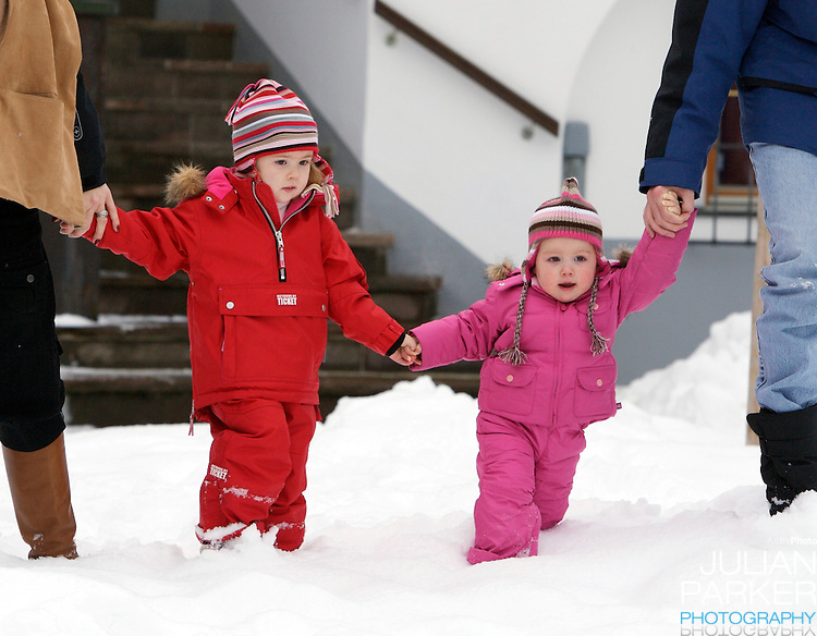 Crown Prince Willem-Alexander & Crown Princess Maxima of Holland, with daughters Princess Catharina-Amalia & Princess Alexia, pose for photographs at the start of their annual skiing holiday in Lech, Austria..