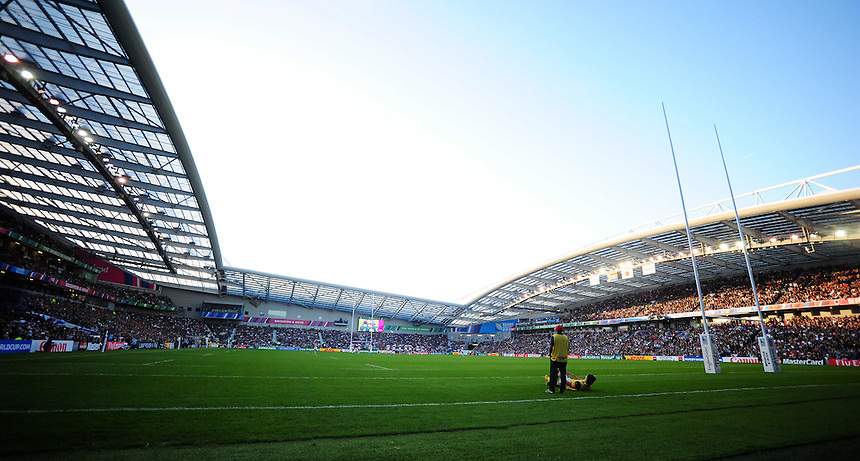 A general view of Brighton Community Stadium, Brighton, venue for Japan's 34-32 win over South Africa<br /> <br /> Photographer Kevin Barnes/CameraSport<br /> <br /> Rugby Union - 2015 Rugby World Cup - Japan v South Africa - Saturday 19th September 2015 - The American Express Community Stadium - Falmer - Brighton<br /> <br /> &copy; CameraSport - 43 Linden Ave. Countesthorpe. Leicester. England. LE8 5PG - Tel: +44 (0) 116 277 4147 - admin@camerasport.com - www.camerasport.com