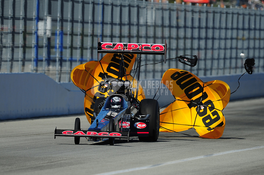 Feb. 10, 2012; Pomona, CA, USA; NHRA top fuel dragster driver Steve Torrence during qualifying at the Winternationals at Auto Club Raceway at Pomona. Mandatory Credit: Mark J. Rebilas-