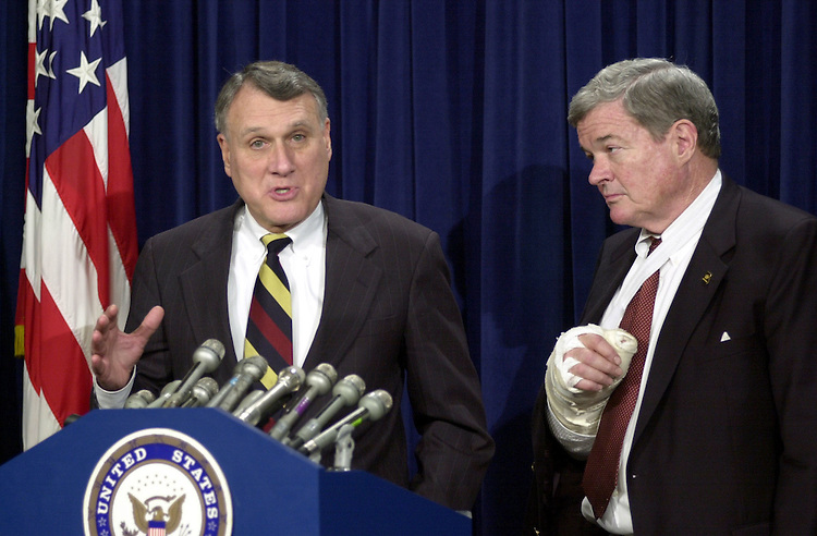 3confirmation020101 -- Jon Kyl, R-Ariz., and Christopher S. Bond, R-Mo., during a press conference after the Senate voted to approve John Ashcroft as Attorney General.