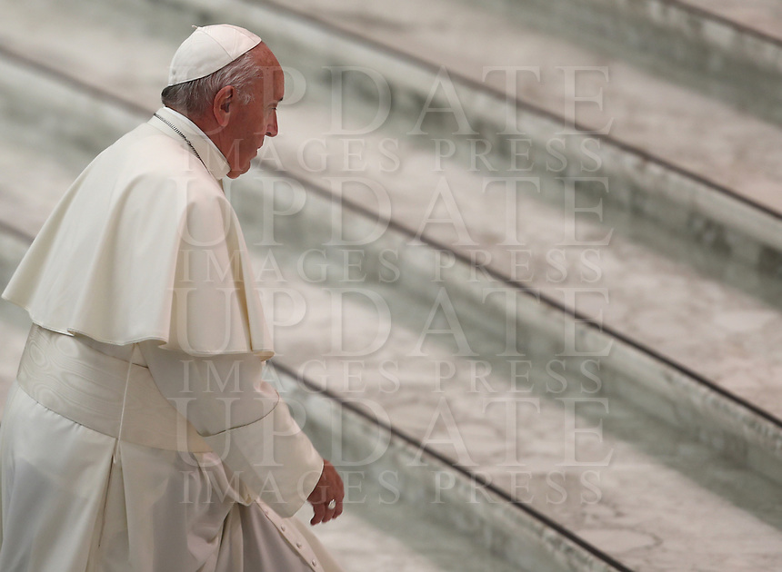 Pope Francis arrives, for an audience with managers and members of the italian Football Federation (FIGC) and Gazzetta dello Sport newspaper, in Paul VI Hall at the Vatican, on May 24, 2019.<br /> UPDATE IMAGES PRESS/Isabella Bonotto<br /> <br /> STRICTLY ONLY FOR EDITORIAL USE