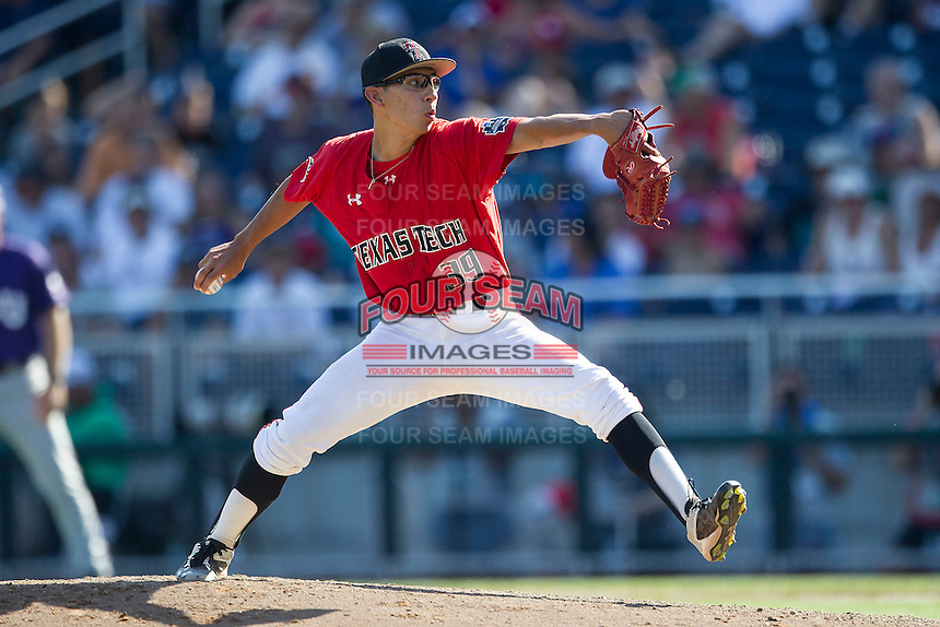 Texas Tech Red Raiders pitcher Robert Dugger (39) delivers a pitch to the plate against the TCU Horned Frogs in Game 3 of the NCAA College World Series on June 19, 2016 at TD Ameritrade Park in Omaha, Nebraska. TCU defeated Texas Tech 5-3. (Andrew Woolley/Four Seam Images)
