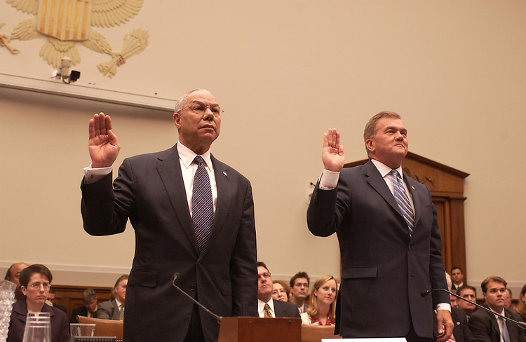 "Secretary of State Colin Powell and Homeland Security Secretary Tom Ridge during the House Judiciary Committee.Biometric Passport DeadlineFull committee oversight hearing, ""Should the Congress Extend the October, 2004 Statutory Deadline for Requiring Visitors to Present Biometric Passports?""."