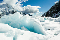 Pristine winter scenery on Franz Josef Glacier, Westland Tai Poutini National Park, West Coast, UNESCO World Heritage Area, New Zealand, NZ