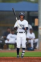 GCL Rays Shane Sasaki (8) at bat during a Gulf Coast League game against the GCL Pirates on August 7, 2019 at Charlotte Sports Park in Port Charlotte, Florida.  GCL Rays defeated the GCL Pirates 4-1 in the first game of a doubleheader.  (Mike Janes/Four Seam Images)