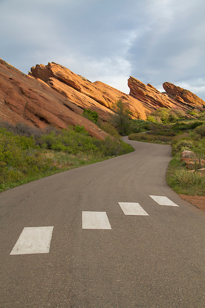 Canyon road at sunrise, Red Rocks State Park, Colorado