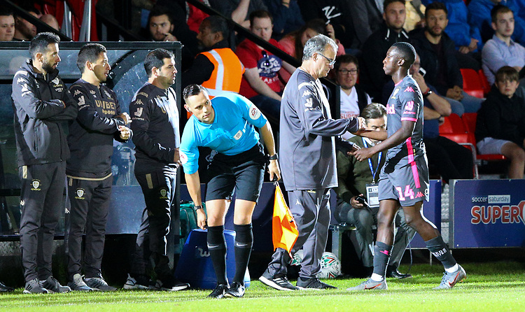 Leeds United manager Marcelo Bielsa shakes Eddie Nketiah's hand<br /> <br /> Photographer Alex Dodd/CameraSport<br /> <br /> The Carabao Cup First Round - Salford City v Leeds United - Tuesday 13th August 2019 - Moor Lane - Salford<br />  <br /> World Copyright © 2019 CameraSport. All rights reserved. 43 Linden Ave. Countesthorpe. Leicester. England. LE8 5PG - Tel: +44 (0) 116 277 4147 - admin@camerasport.com - www.camerasport.com