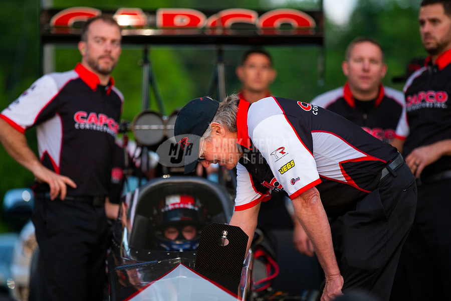 May 4, 2018; Commerce, GA, USA; Richard Hogan crew chief for NHRA top fuel driver Steve Torrence during qualifying for the Southern Nationals at Atlanta Dragway. Mandatory Credit: Mark J. Rebilas-USA TODAY Sports