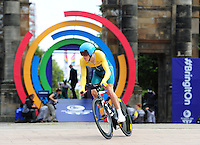 Australia's Rohan Dennis sets off on his time trial<br /> <br /> Photographer Chris Vaughan/CameraSport<br /> <br /> 20th Commonwealth Games - Day 8 - Thursday 31st July 2014 - Cycling - time trial - Glasgow - UK<br /> <br /> © CameraSport - 43 Linden Ave. Countesthorpe. Leicester. England. LE8 5PG - Tel: +44 (0) 116 277 4147 - admin@camerasport.com - www.camerasport.com