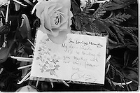 Pix: Copyright Anglia Press Agency/Archived via SWpix.com. The Bamber Killings. August 1985. Murders of Neville and June Bamber, daughter Sheila Caffell and her twin boys. Jeremy Bamber convicted of killings serving life...copyright photograph>>Anglia Press Agency>>07811 267 706>>..Flowers from Colin Caffell, husband of murdered Sheila and father of twins. no date..ref 0003 neg 13...