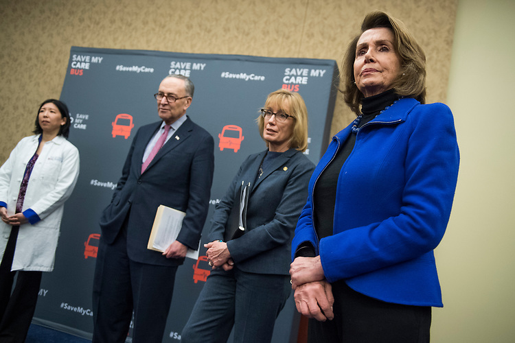 UNITED STATES - MARCH 14: From left, Dr. Alice T. Chen, Senate Minority Leader Charles Schumer, D-N.Y., Sen. Maggie Hassn, D-N.H., and House Minority Leader Nancy Pelosi, D-Calif., attend a news conference in the Capitol Visitor Center to voice opposition to House Republican's health care plan, the American Health Care Act, March 14, 2017. The event featured testimony from patients and doctors who benefit from the Affordable Care Act. (Photo By Tom Williams/CQ Roll Call)