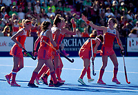Netherlands' celebrates the 6th goal scored by Caia van Maasakker <br /> Photographer Hannah Fountain/CameraSport<br /> <br /> Vitality Hockey Women's World Cup - Netherlands v Ireland - Sunday 5th August 2018 - Lee Valley Hockey and Tennis Centre - Stratford<br /> <br /> World Copyright &copy; 2018 CameraSport. All rights reserved. 43 Linden Ave. Countesthorpe. Leicester. England. LE8 5PG - Tel: +44 (0) 116 277 4147 - admin@camerasport.com - www.camerasport.com