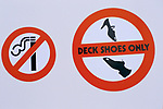 COWES REGATTA, ISLE OF WIGHT, sign on the side of a boat. 1986.