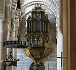 VMI Vincentian Heritage Tour: Massive pipe organ inside the Saint-Philibert de Tournus church, a former Benedictine abbey. Members of the VMI toured the site  Wednesday, June 29, 2016, as they visited the town of Tournus in southern France. (DePaul University/Jamie Moncrief)