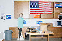 Campaign signs hang in the campaign office of Democratic presidential nominee Hillary Clinton in the Wynwood Arts District of Miami, Florida.