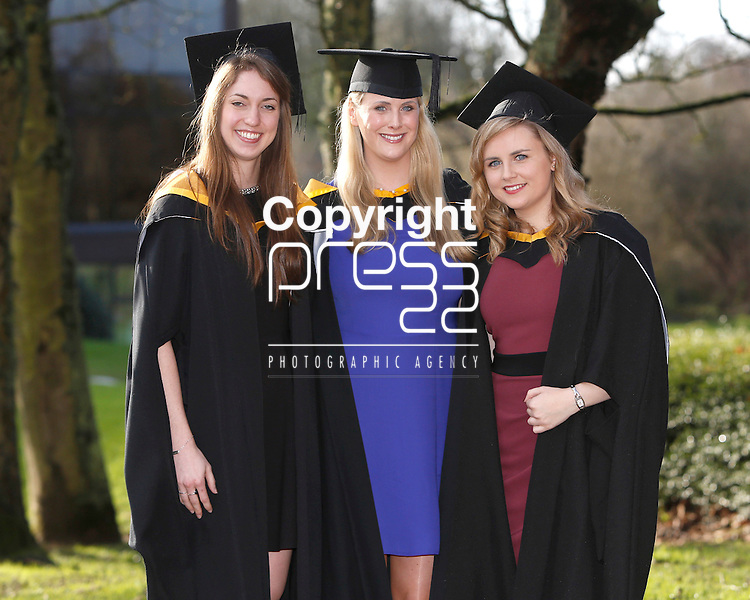 REPRO FREE<br /> 21/01/2015<br /> Molly Hanlon, Pittsburg, USA, Aisling Devenney, Dundalk, Co. Louth and Anne Marie Breen, Adare, Co. Limerick who graduated with Masters in Speech and Language Therapy as the University of Limerick continues three days of Winter conferring ceremonies which will see 1831 students conferring, including 74 PhDs. <br /> UL President, Professor Don Barry highlighted the increasing growth in demand for UL graduates by employers and the institution&rsquo;s position as Sunday Times University of the Year. <br /> Picture: Don Moloney / Press 22