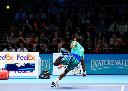 13.11.2016. The O2, London, England. ATP Tour Tennis Finals. Day One. Milos Raonic (CAN) defeats Gael Monfils (FRA) by a score 6-3, 6-3 during Day 1 at Barclays ATP World Tour Finals from the O2 Arena
