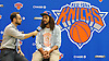 Jonah Ballow, New York Knicks Director of Digital Media, left, interviews newly-signed free agent Joakim Noah after Noah's introductory news conference at Madsion Square Garden Training Center in Greenburgh, NY on Friday, July 8, 2016.