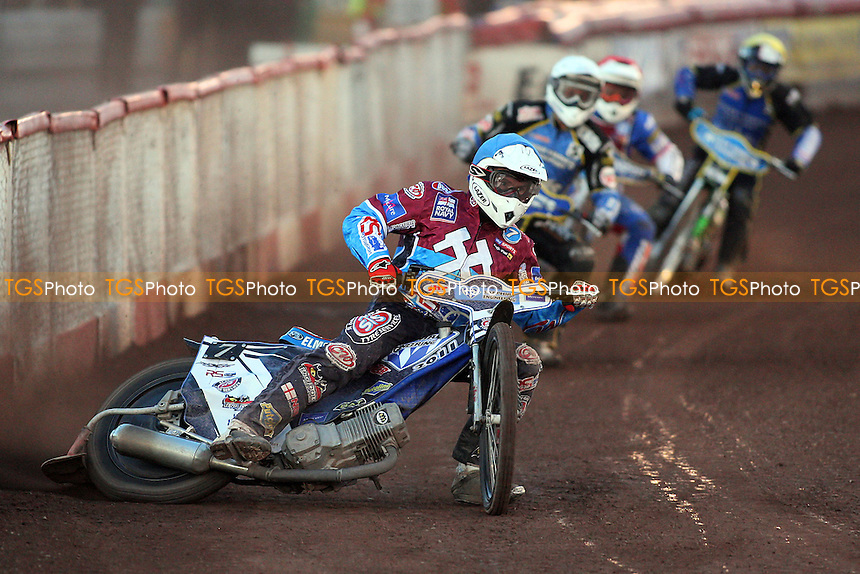 Heat 4: Stuart Robson (blue), Niels K Iversen (white), Ryan Fisher (red) and Filip Sitera - Lakeside Hammers vs King's Lynn Stars - Elite League Speedway at Arena Essex Raceway - 21/05/11 - MANDATORY CREDIT: Gavin Ellis/TGSPHOTO - Self billing applies where appropriate - Tel: 0845 094 6026