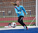 Roxana goalkeeper Braeden Lackey. Roxana High School played a girls soccer game at Freeburg High School on Thursday May 3, 2018. Tim Vizer | Special to STLhighschoolsports.com