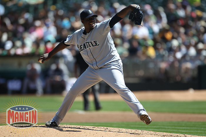 OAKLAND, CA - SEPTEMBER 3: Michael Pineda #36 of the Seattle Mariners pitches against the Oakland Athletics during the game at O.co Coliseum on September 3, 2011 in Oakland, California. Photo by Brad Mangin