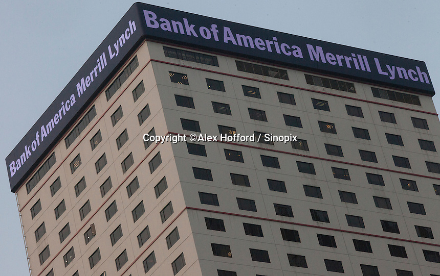 An exterior shot of the Bank of America Merrill Lynch, Central district, Hong Kong, China, 28 April 2014.