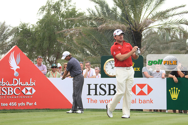 Graeme McDowell and Ratief Goosen on the 9th tee on day one of the Abu Dhabi HSBC Golf Championship 2011, at the Abu Dhabi golf club, UAE. 20/1/11..Picture Fran Caffrey/www.golffile.ie.