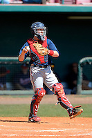Atlanta Braves catcher Tyler Tewell #17 during a minor league Spring Training game against the Baltimore Orioles at Al Lang Field on March 13, 2013 in St. Petersburg, Florida.  (Mike Janes/Four Seam Images)