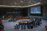"Hajer Sharief (on screen, left), Co-founder of ""Together We Build It"", a professional network for Libyan women, briefs the Security Council meeting on the situation in Libya.<br /> <br /> Ghassan Salamé (on screen, right), Special Representative of the Secretary-General and Head of the United Nations Support Mission in Libya (UNSMIL), also briefed the Council."