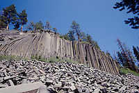 Basalt Column's at Devils Postpile National Monument in California's Sierra Mountains. This monument is located on the eastern slope of the Sierra Mountains near Mammoth Mountain.