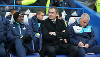 Swansea City assistant manager Claude Makélélé and Swansea City manager Paul Clement during the Premier League match between Chelsea and Swansea City at Stamford Bridge, London, UK. Saturday 25 February 2017