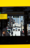 24 AUG 2009 - BERLIN, GER - The former border crossing, Checkpoint Charlie, viewed through the window of a tour bus (PHOTO (C) NIGEL FARROW)