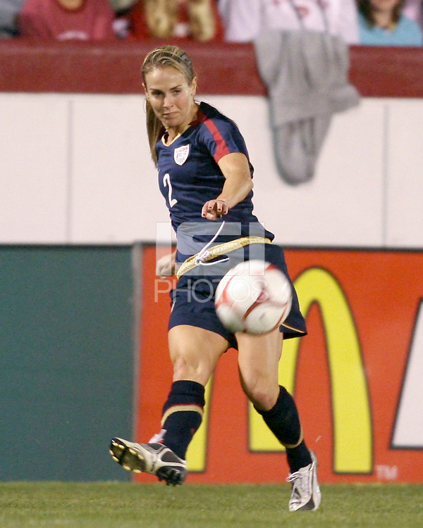 Heather Mitts (2) of USA sends over a cross during an international friendly match against South Korea at City Stadium on November 1, 2008 in Richmond, Virginia. USA won 3-1. Photo by Tony Quinn / isiphotos.com