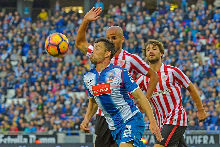 League Santander 2016/2017. Game: 11.<br /> RCD Espanyol vs Athletic Club: 0-0.<br /> Javi Fuego vs Mikel Rico.