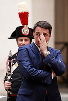 Il Presidente del Consiglio Matteo Renzi attende l'arrivo del Primo Ministro cinese a Palazzo Chigi, Roma, 14 ottobre 2014.<br /> Italian Premier Matteo Renzi waits for the arrival of the Chinese Prime minister at Chigi Palace, Rome, 14 October 2014.<br /> UPDATE IMAGES PRESS/Isabella Bonotto