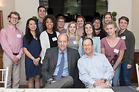 Occidental College UN semester students have lunch with William Kahane, Jonathan Veitch, Sanjeev Khagram, Robin Craggs and other staff members in Morrison Lounge of JSC on Feb. 14, 2018. The William and Elizabeth Kahane United Nations Program at Occidental College (Oxy-at-the-U.N.) complements an intellectual foundation of two academic courses with a demanding full-time internship at UN-related agencies or country missions.<br /> (Photo by Marc Campos, Occidental College Photographer)