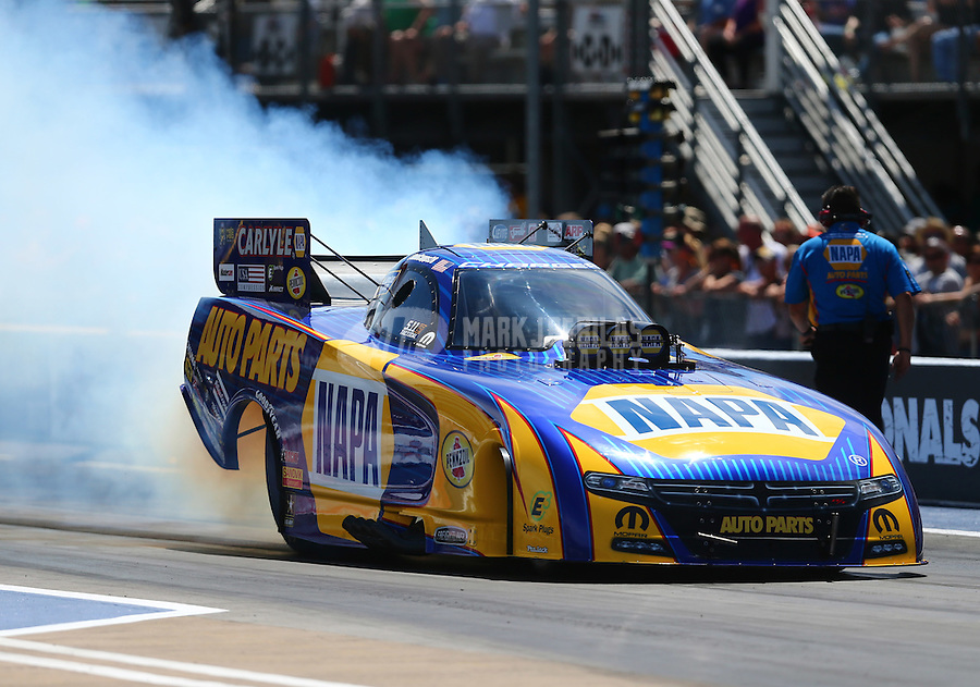 Jun 19, 2016; Bristol, TN, USA; NHRA funny car driver Ron Capps during the Thunder Valley Nationals at Bristol Dragway. Mandatory Credit: Mark J. Rebilas-USA TODAY Sports